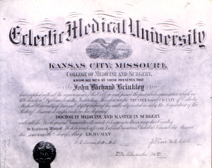 NOTE 5 Brinkley Diploma Eclectic Medical University